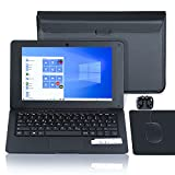 Laptop 10.1 Zoll Notebook , Windows 10 Quad Core Netbook Computer, Full HD IPS-Display Leptop, Netflix,YouTube,WiFi,HDMI, mit Laptoptasche, Maus, Mauspad, Kopfhörer (Schwarz)